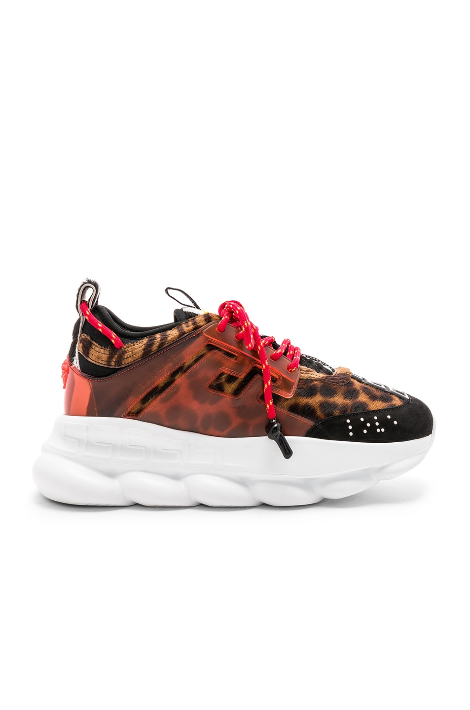 Image 2 of VERSACE Calf Hair Chain Reaction Sneakers in Black & Red Print