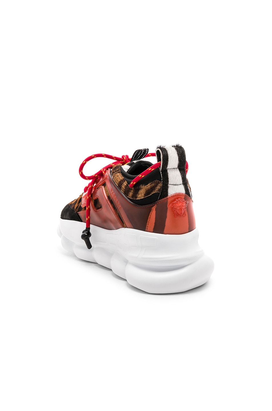 Image 3 of VERSACE Calf Hair Chain Reaction Sneakers in Black & Red Print