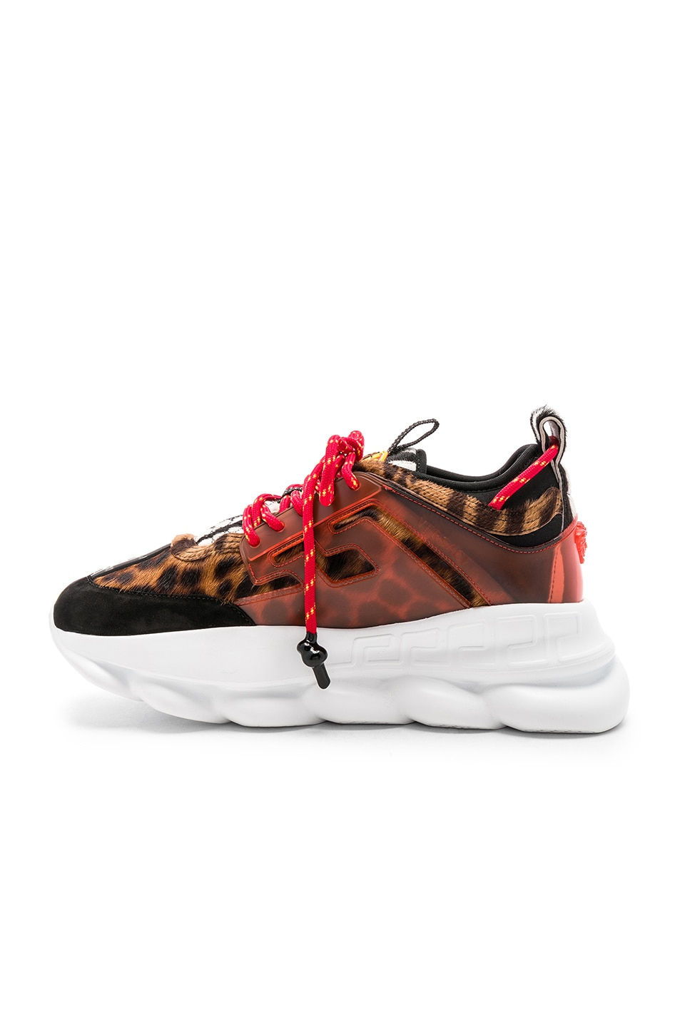 Image 5 of VERSACE Calf Hair Chain Reaction Sneakers in Black & Red Print