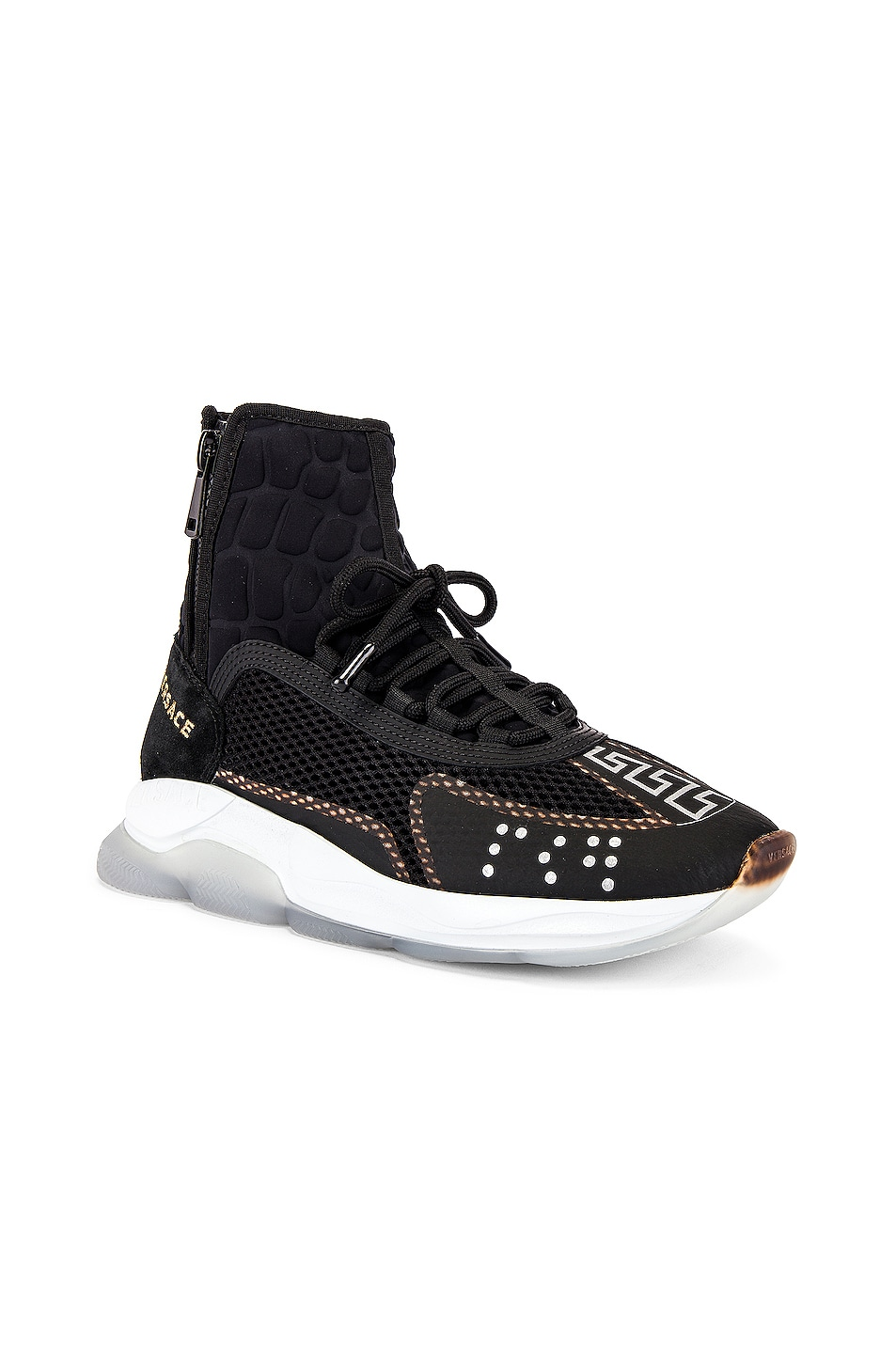 Image 1 of VERSACE Chain Reaction High Top Sneaker in Black
