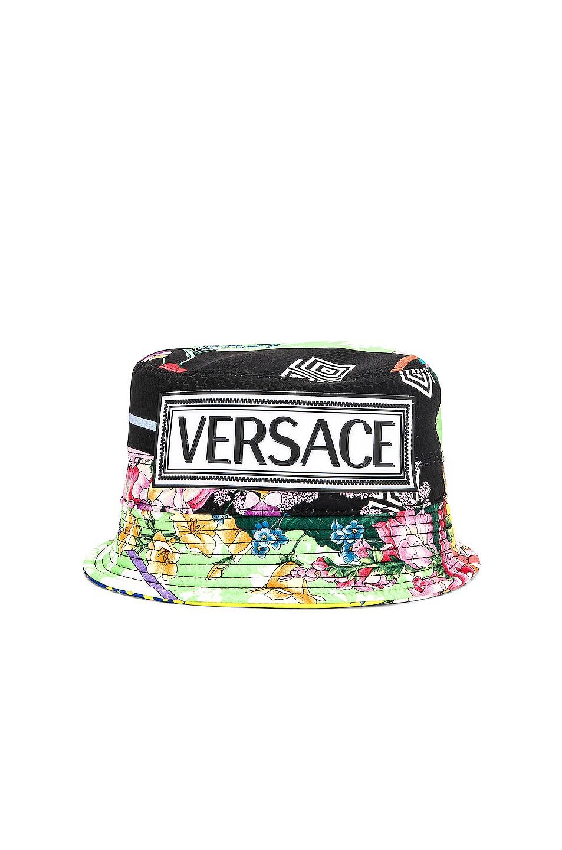 Image 1 of VERSACE Logo Print Bucket Hat in Multi