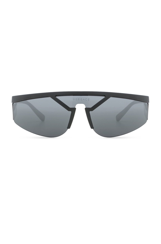 Image 1 of VERSACE Wrap Shield Sunglasses in Matte Black
