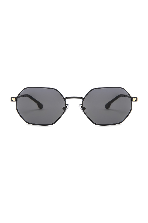 Image 1 of VERSACE Hexagonal Sunglasses in Matte Black