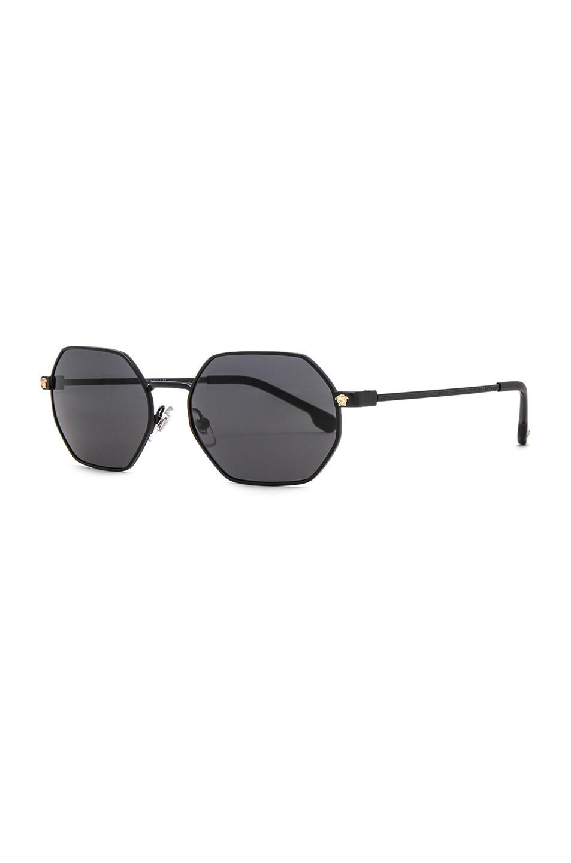 Image 2 of VERSACE Hexagonal Sunglasses in Matte Black
