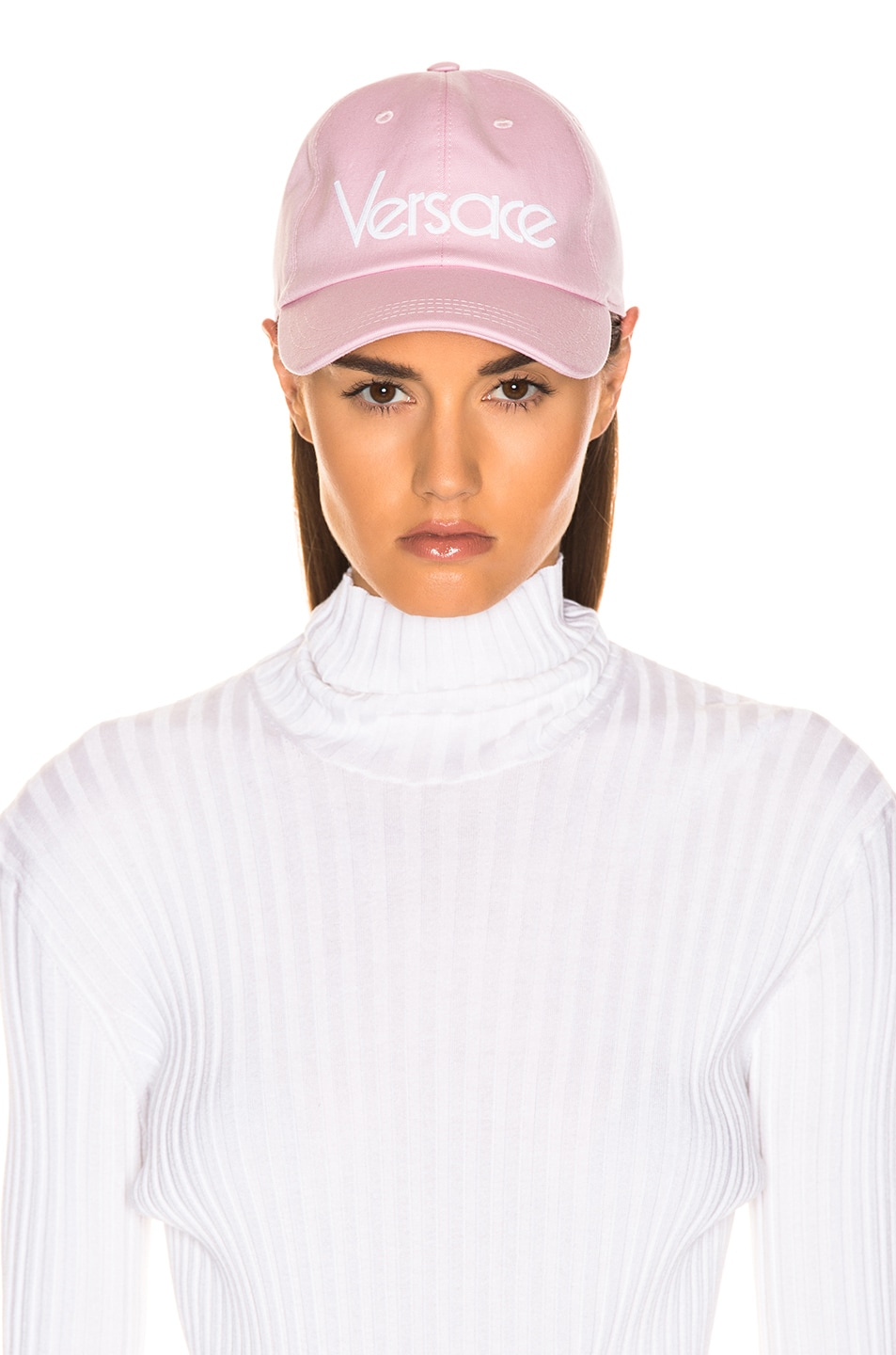 Image 5 of VERSACE Logo Baseball Cap in Pink & White