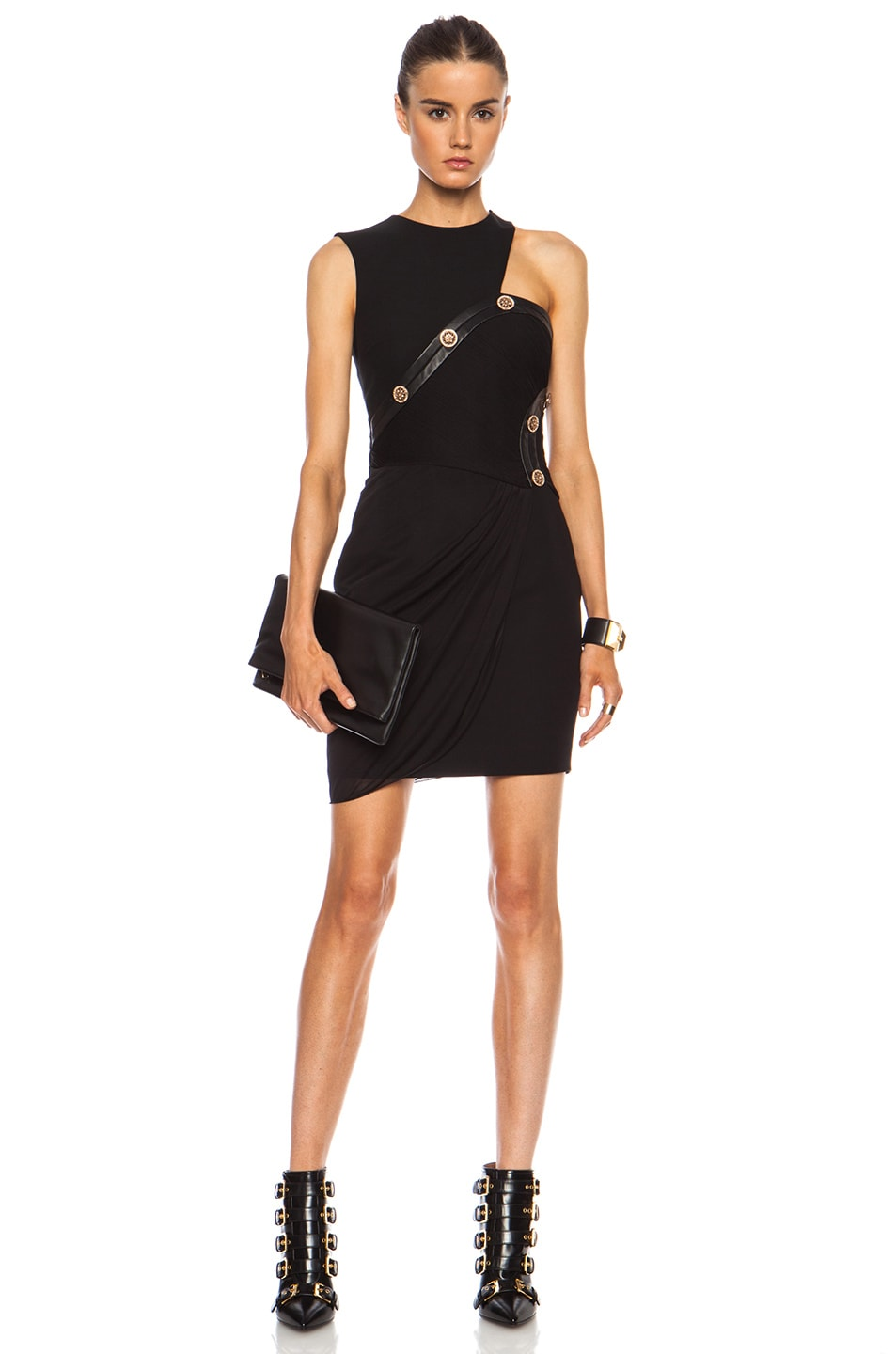 Image 1 of VERSACE Draped Cut Out Mini Dress in Black