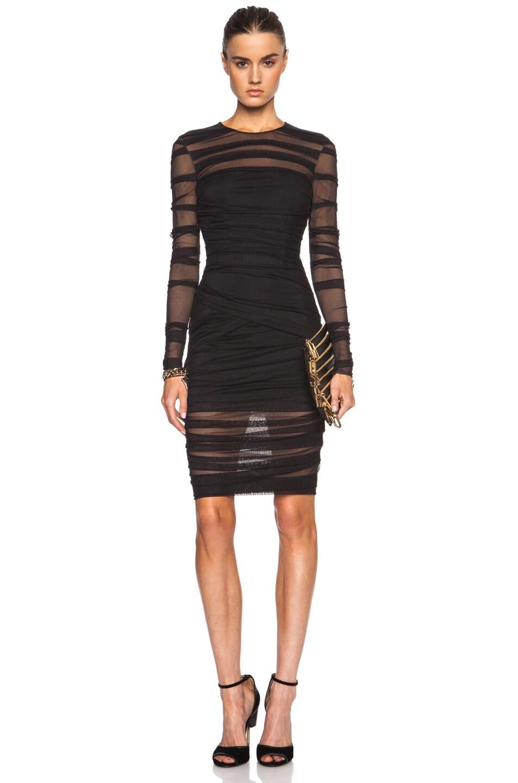Image 1 of VERSACE Sheer Striped Polyamide-Blend Midi Dress in Black