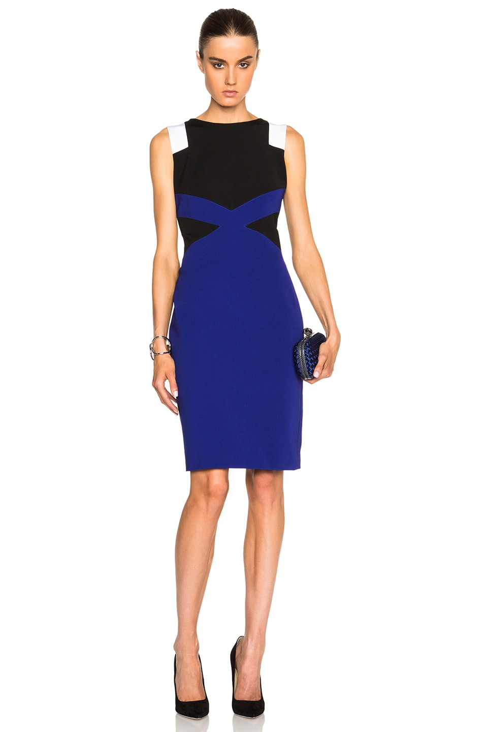 Image 1 of VERSACE Sleeveless Dress in Black, Violet & White