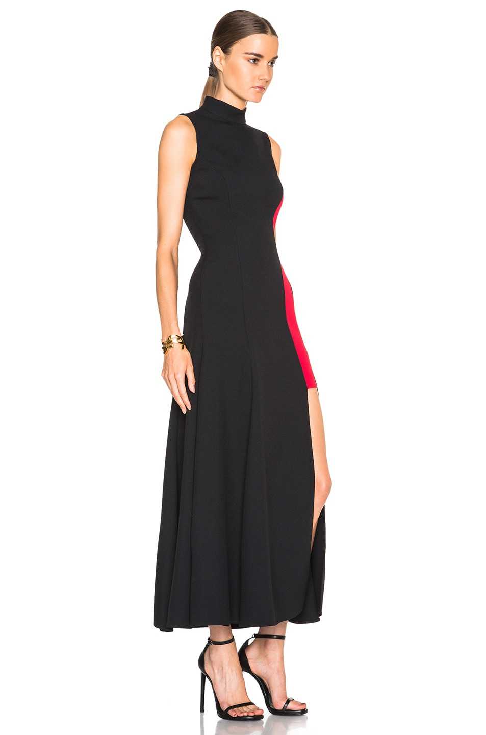 Black dress versace - Image 3 Of Versace Contrast Panel Dress In Black Red