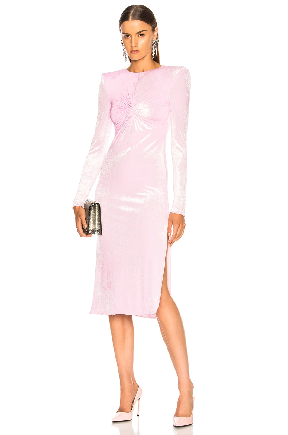 7f9d15c99b VERSACE Ruched Long Sleeve Midi Dress in Light Pink | FWRD