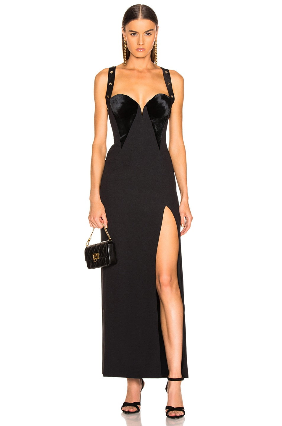 Image 1 of VERSACE Crossback Bustier Gown in Black