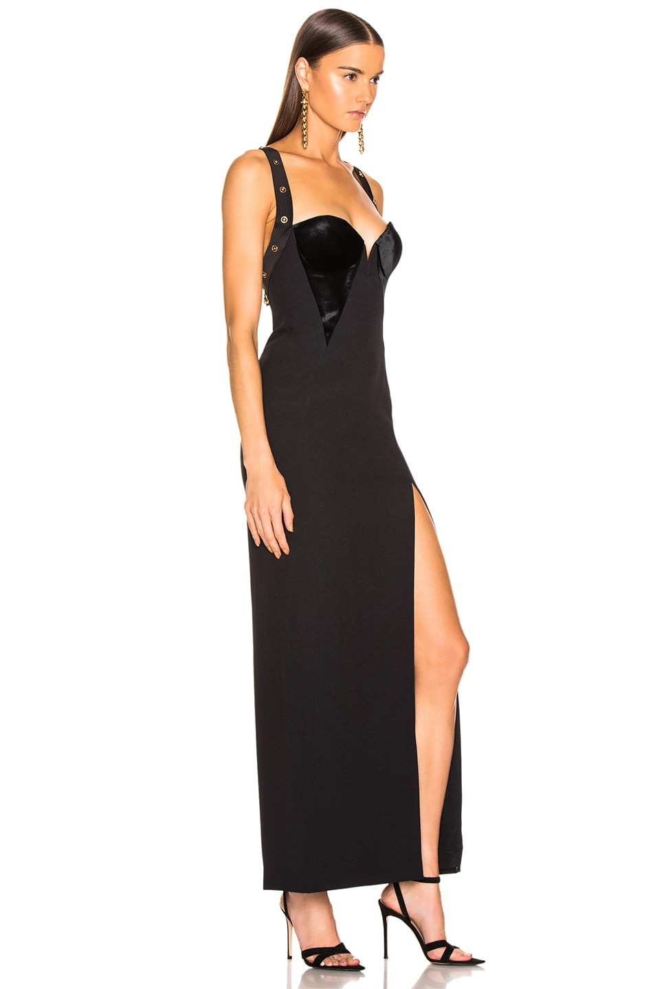 Image 2 of VERSACE Crossback Bustier Gown in Black