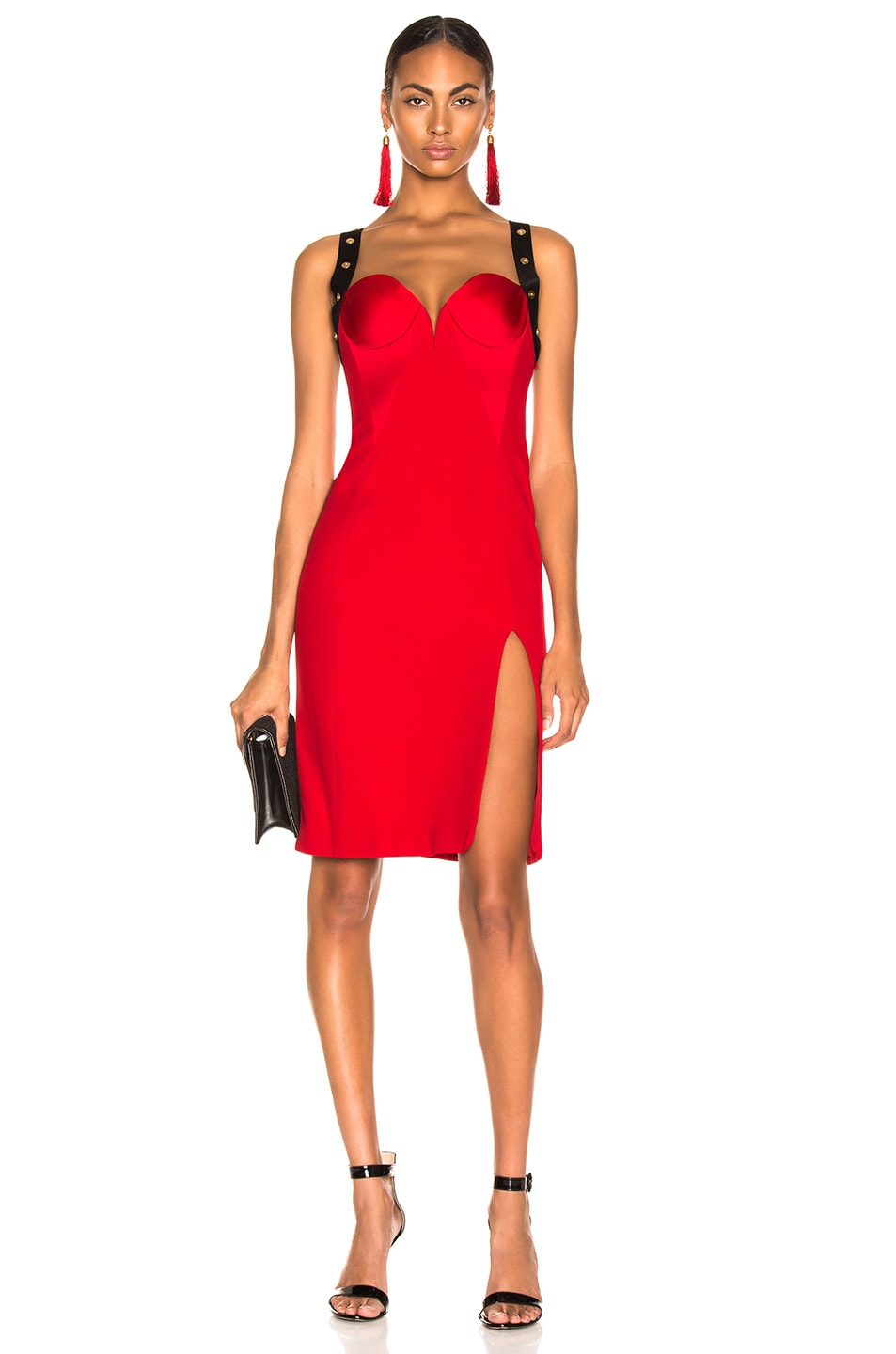 Image 1 of VERSACE Crossback Bustier Midi Dress in Red & Black