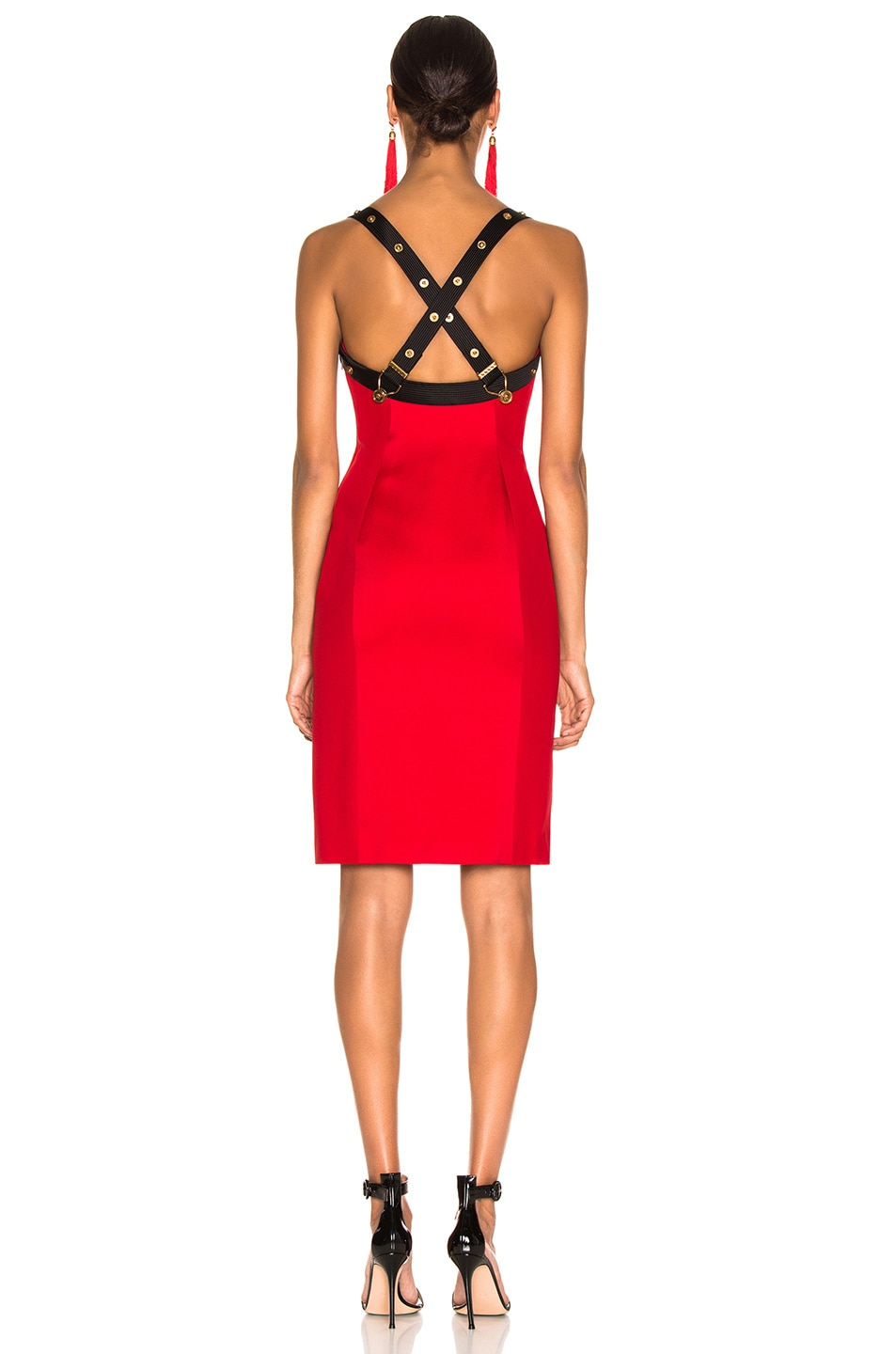 Image 3 of VERSACE Crossback Bustier Midi Dress in Red & Black