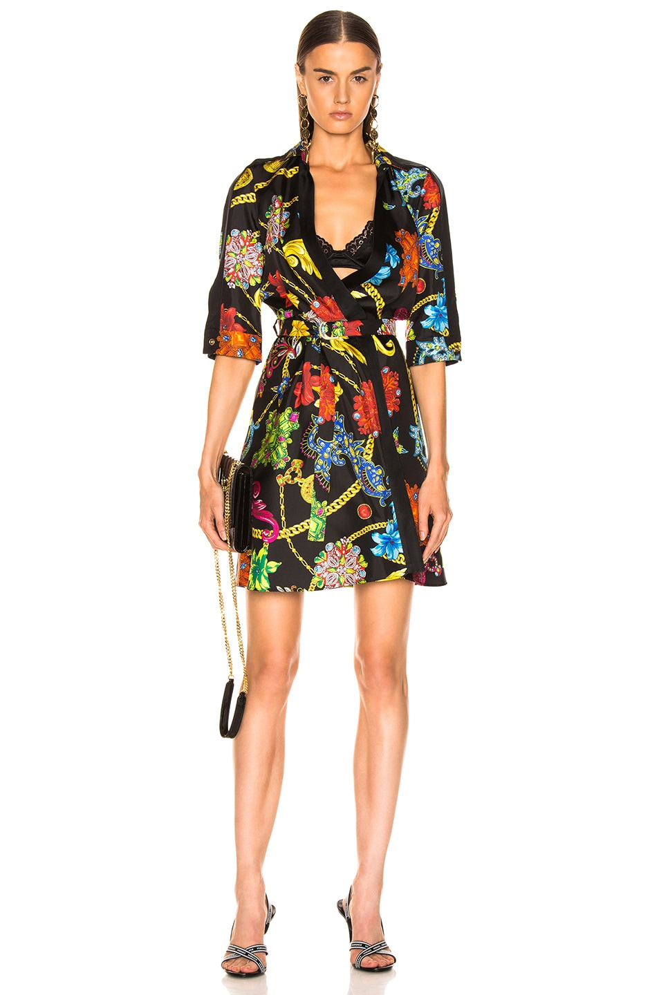 Image 1 of VERSACE Catene Print Dress in Black Stampa