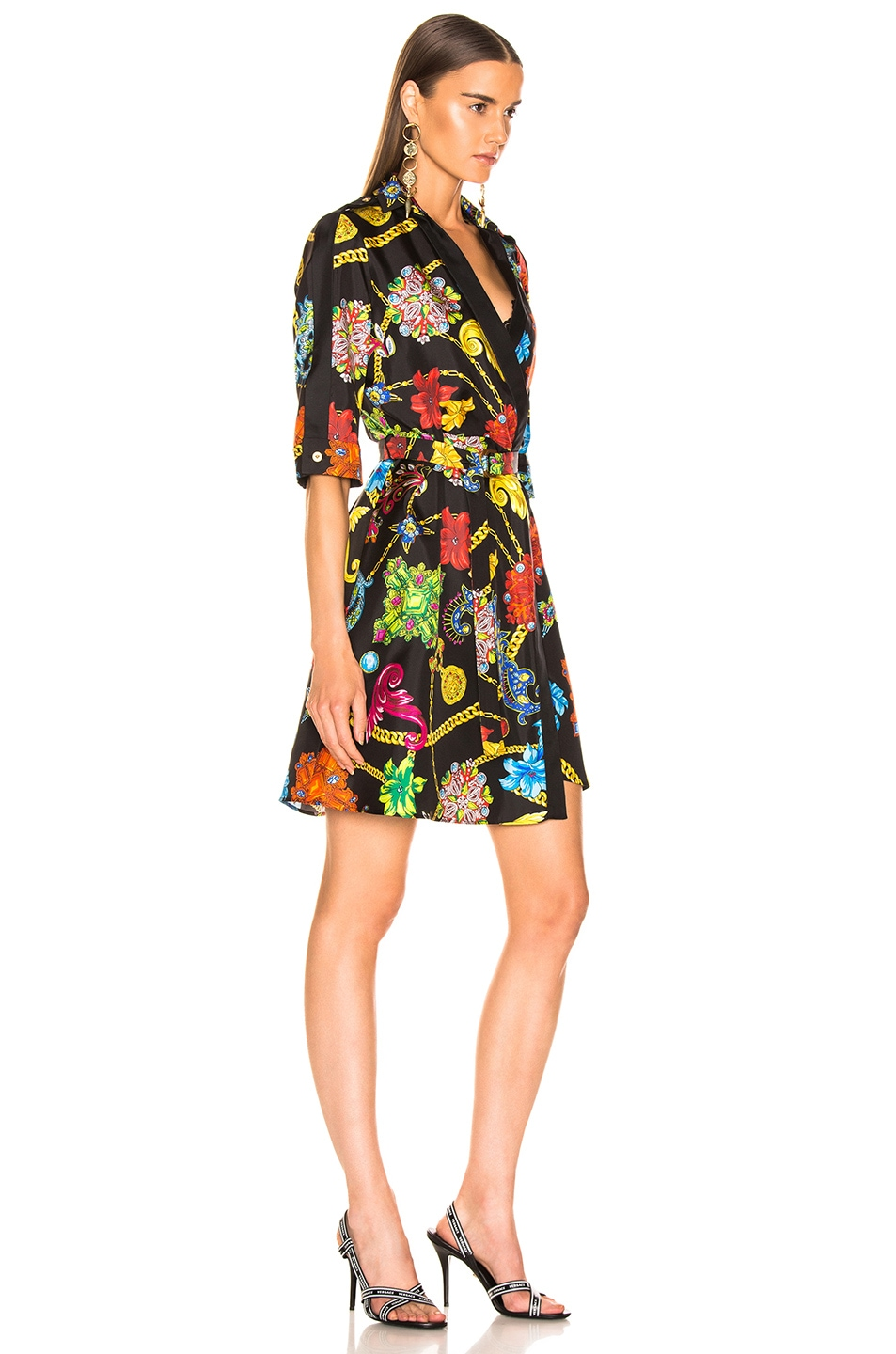 Image 2 of VERSACE Catene Print Dress in Black Stampa