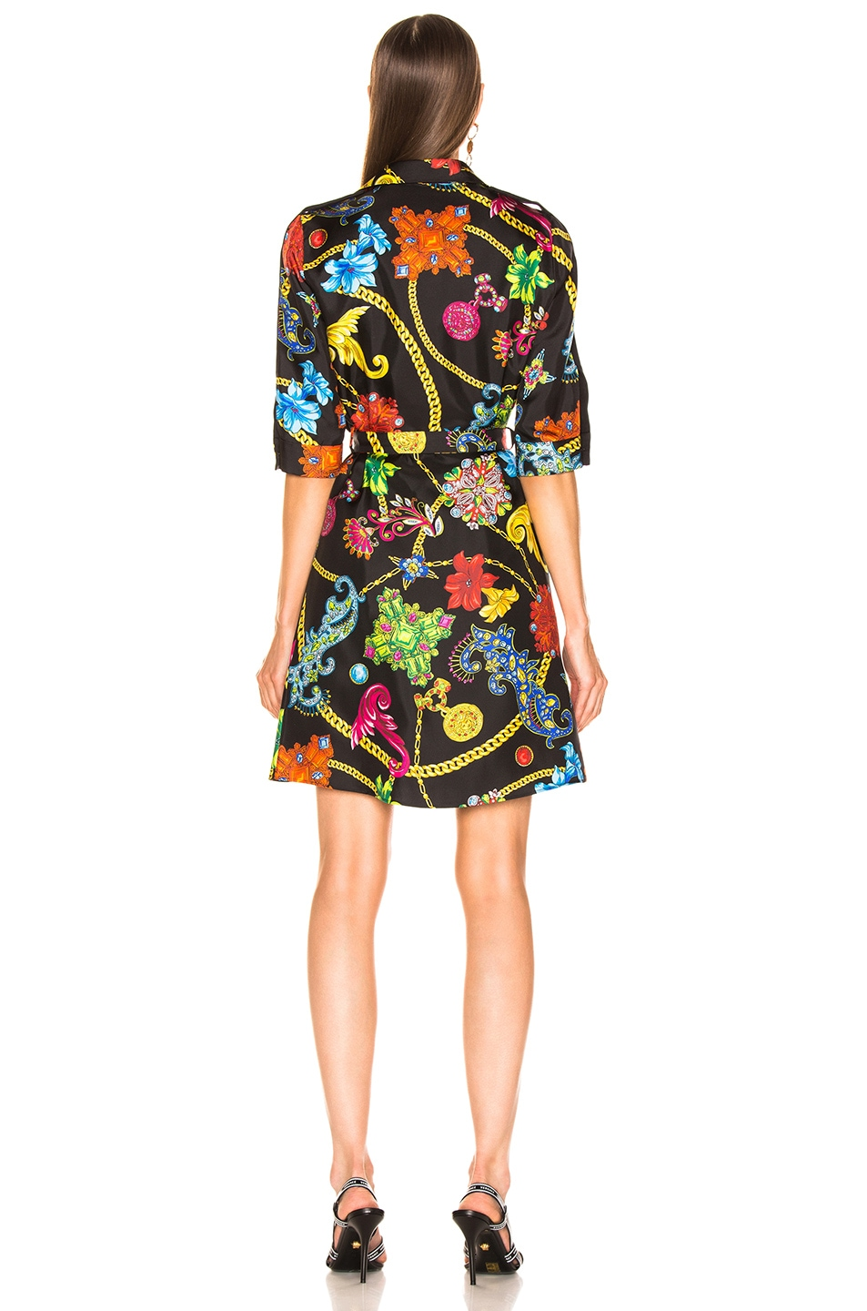 Image 3 of VERSACE Catene Print Dress in Black Stampa