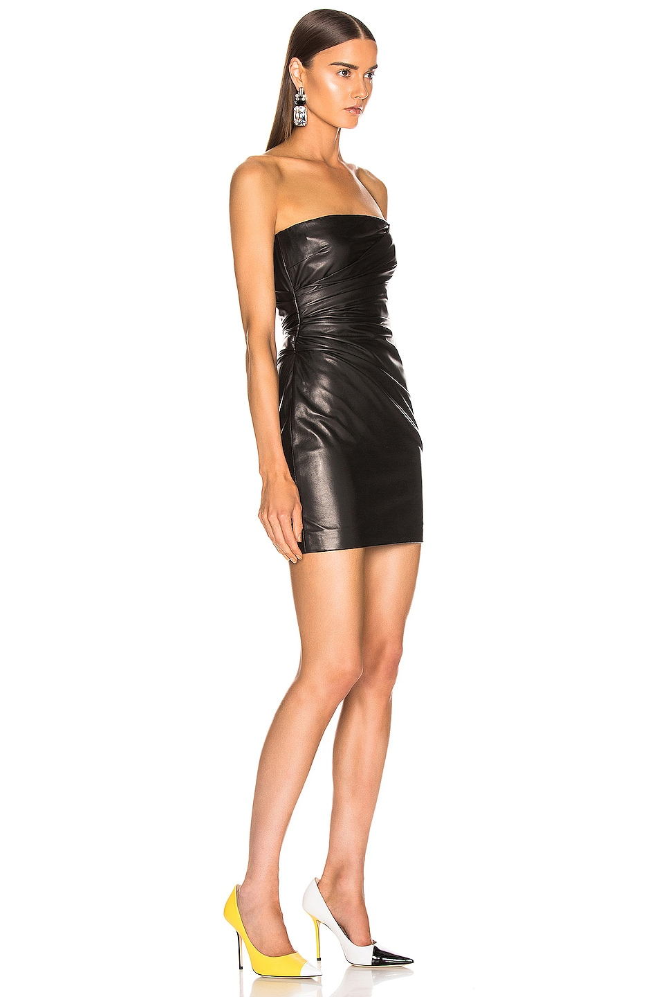 Image 2 of VERSACE Leather Mini Dress in Black