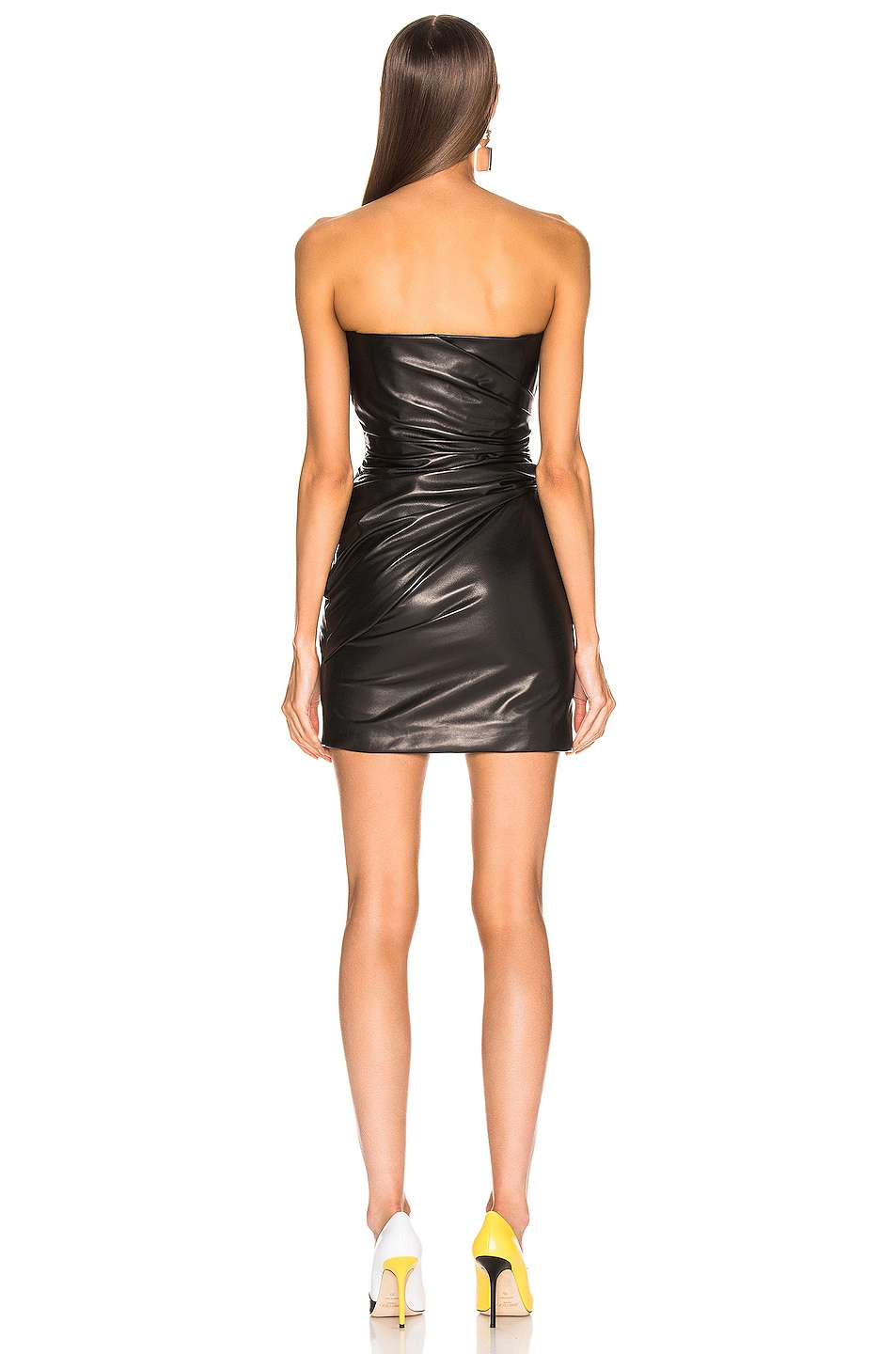 Image 3 of VERSACE Leather Mini Dress in Black