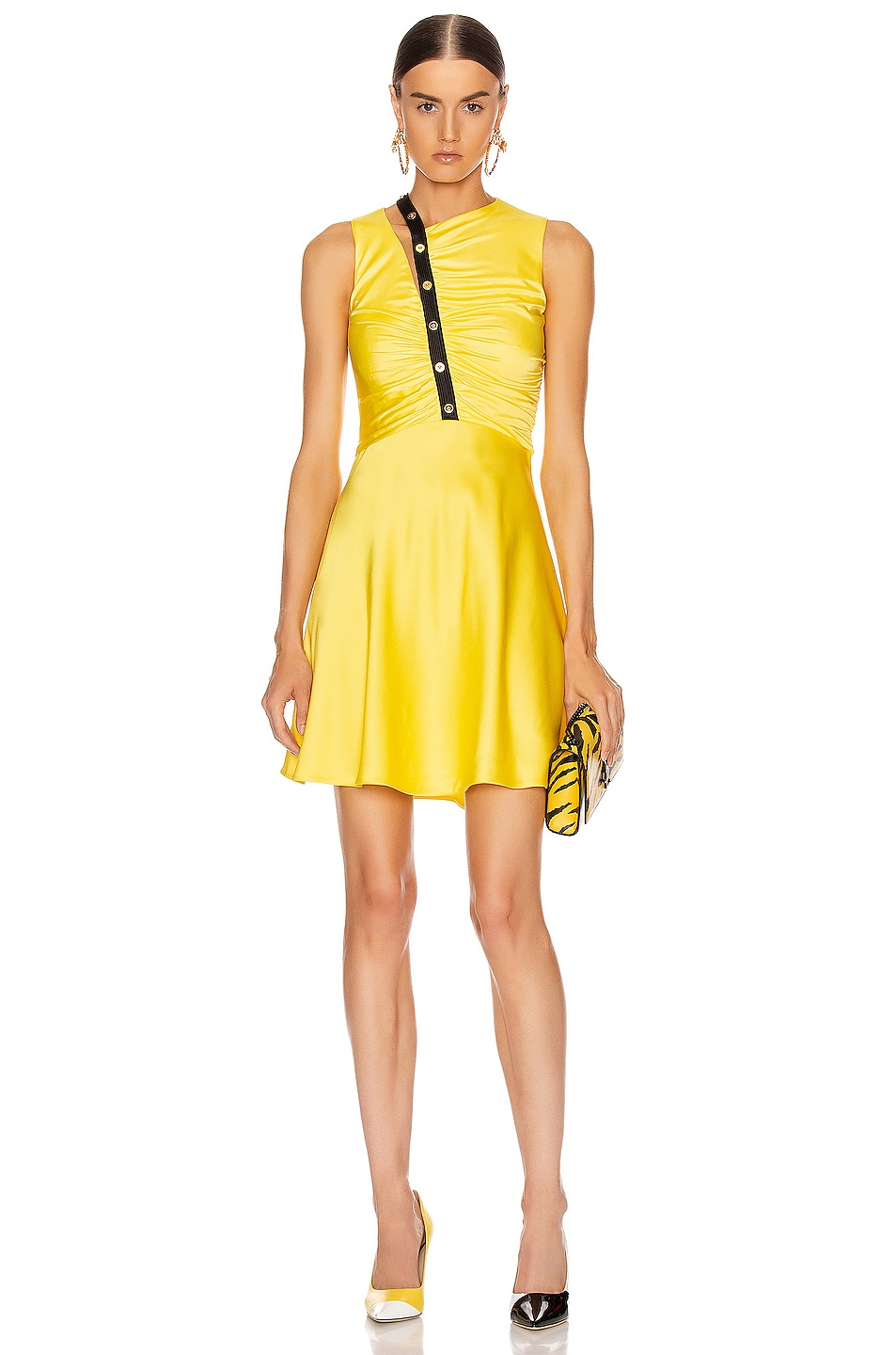 Image 1 of VERSACE Sleeveless Mini Dress in Yellow & Black