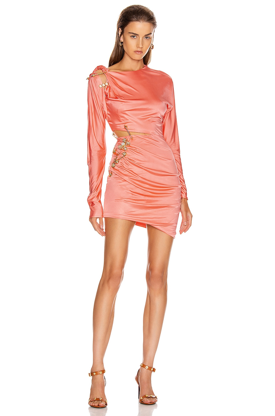 Image 1 of VERSACE Cocktail Cutout Mini Dress in Orange