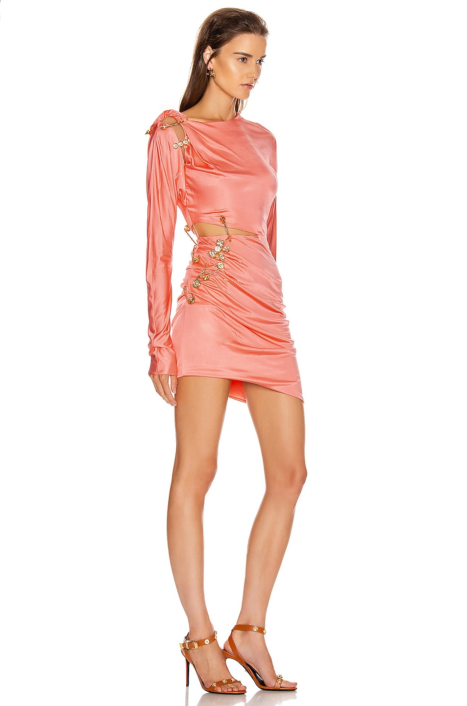 Image 2 of VERSACE Cocktail Cutout Mini Dress in Orange