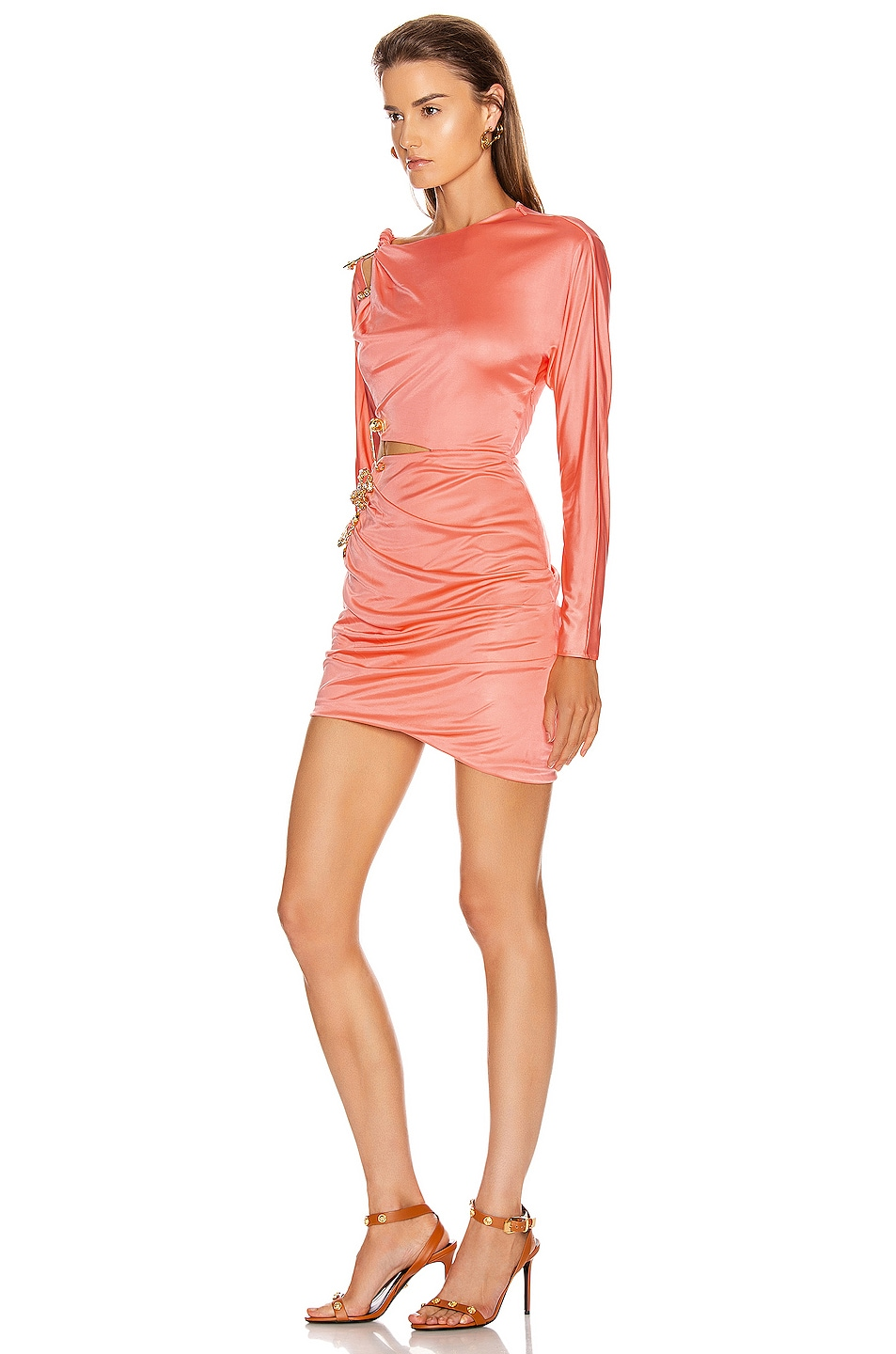 Image 3 of VERSACE Cocktail Cutout Mini Dress in Orange