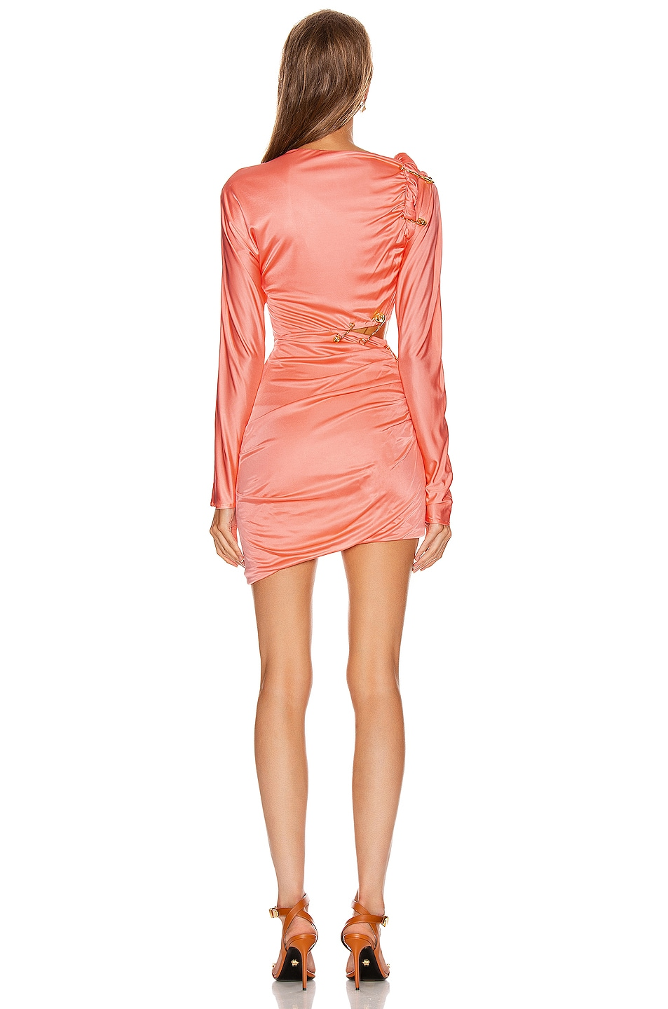 Image 4 of VERSACE Cocktail Cutout Mini Dress in Orange