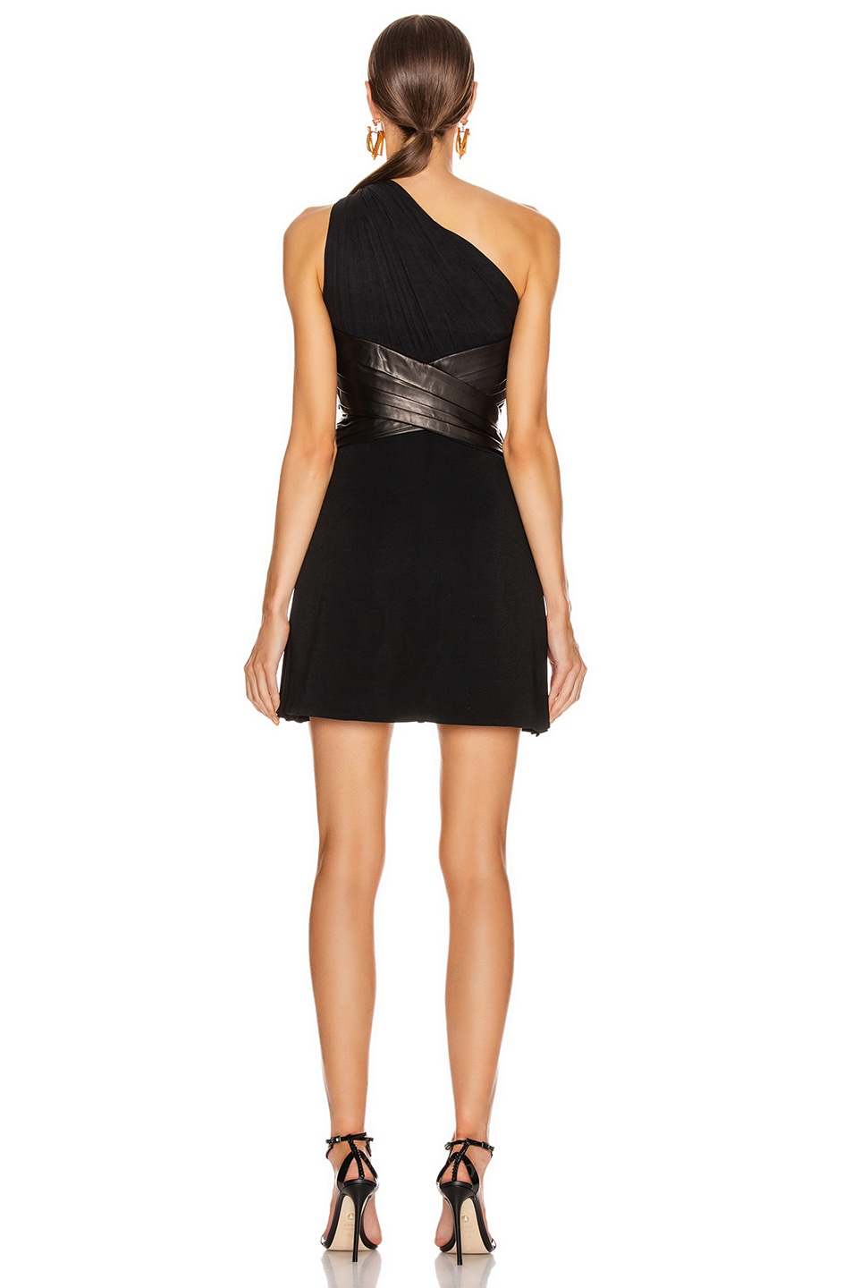 Image 4 of VERSACE One Shoulder Mini Dress in Black