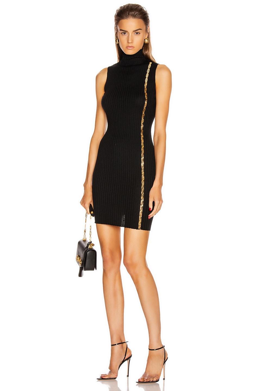 Image 1 of VERSACE Turtleneck Sleeveless Mini Dress in Black
