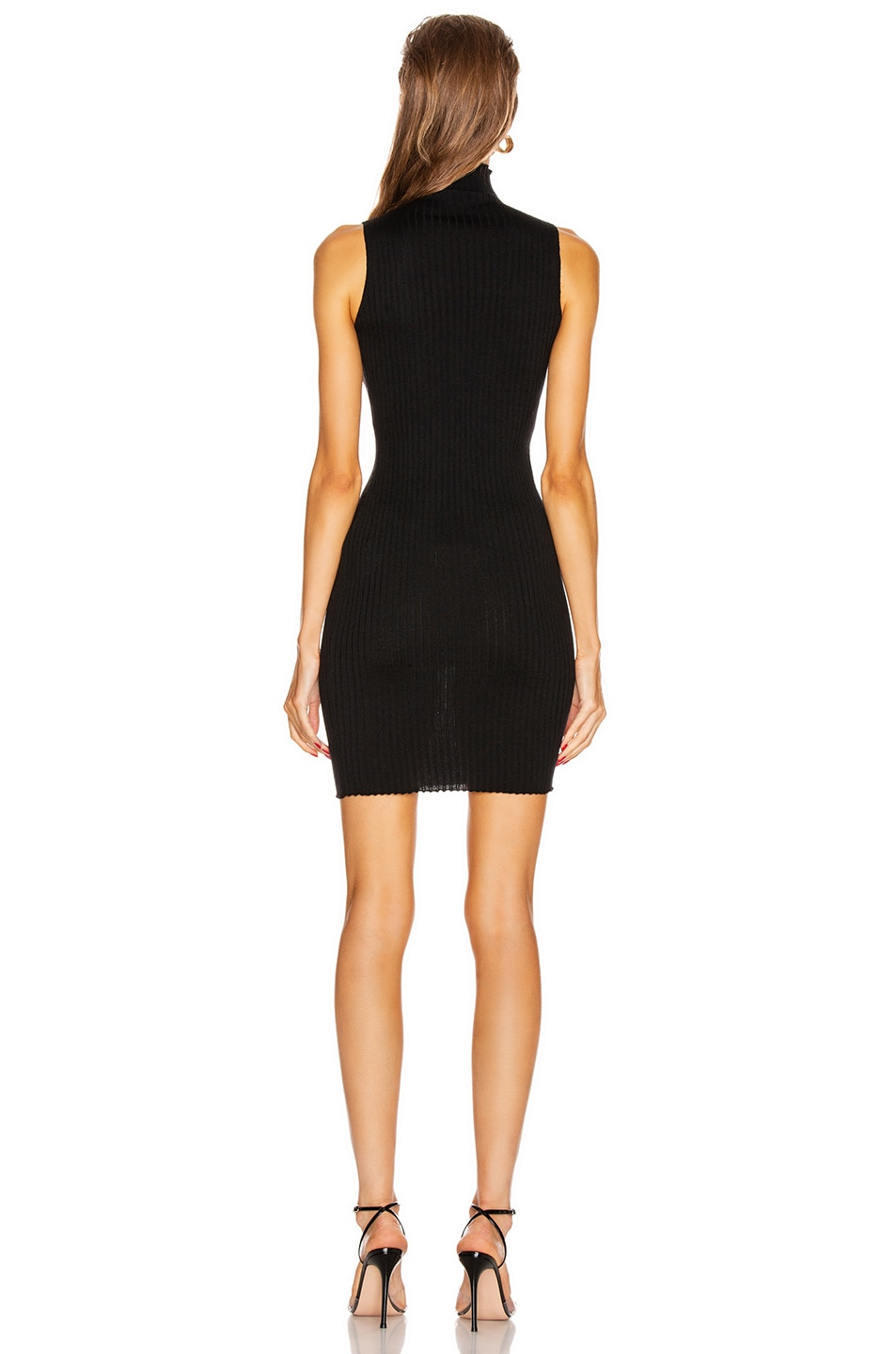 Image 3 of VERSACE Turtleneck Sleeveless Mini Dress in Black