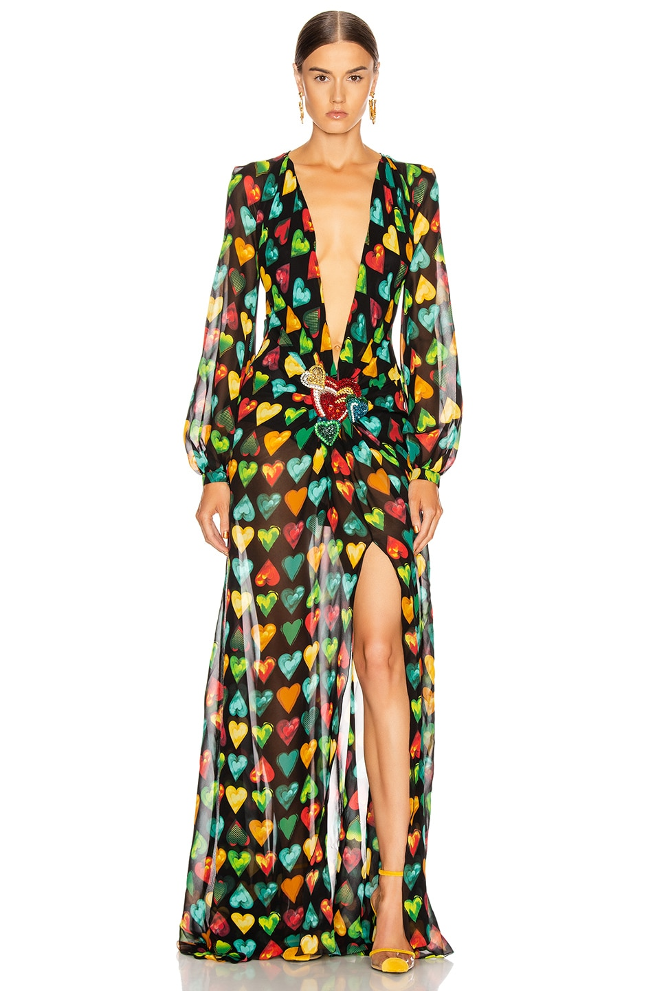 Image 1 of VERSACE Heart Long Evening Gown in Black Multicolor