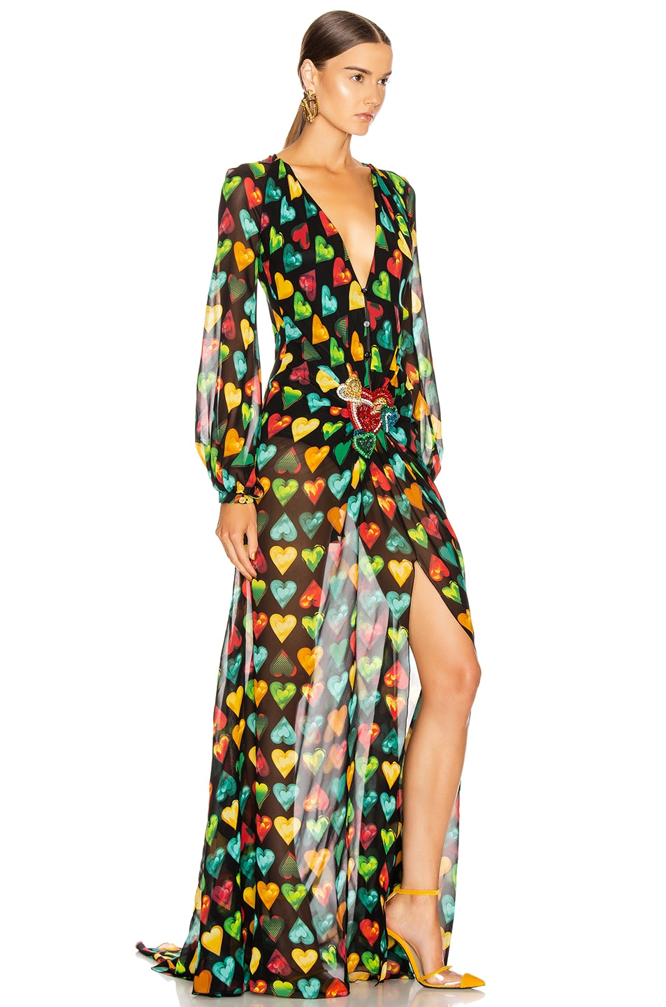 Image 2 of VERSACE Heart Long Evening Gown in Black Multicolor