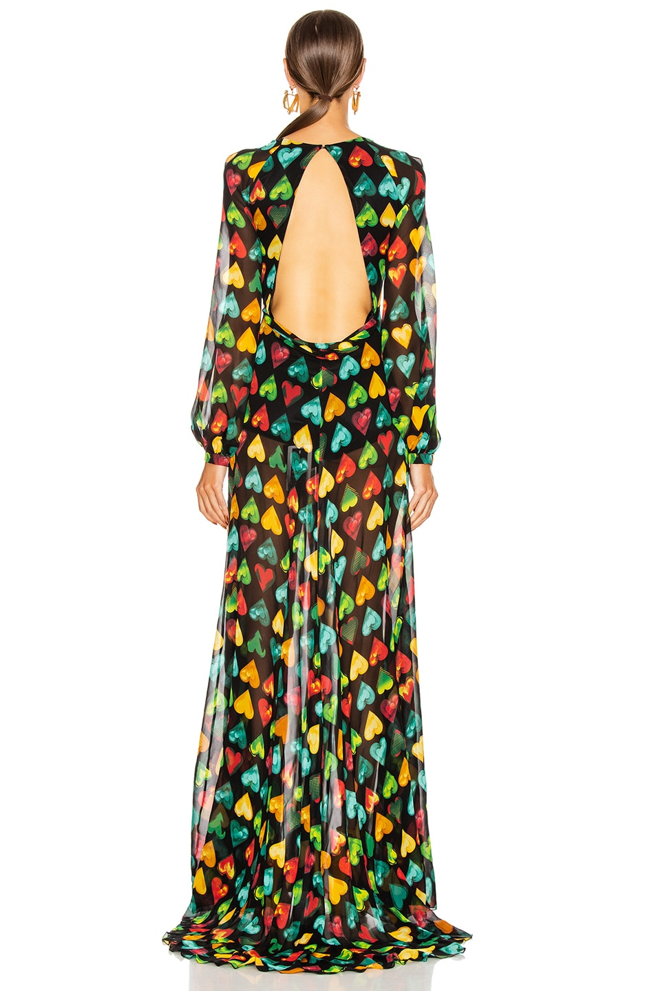 Image 3 of VERSACE Heart Long Evening Gown in Black Multicolor