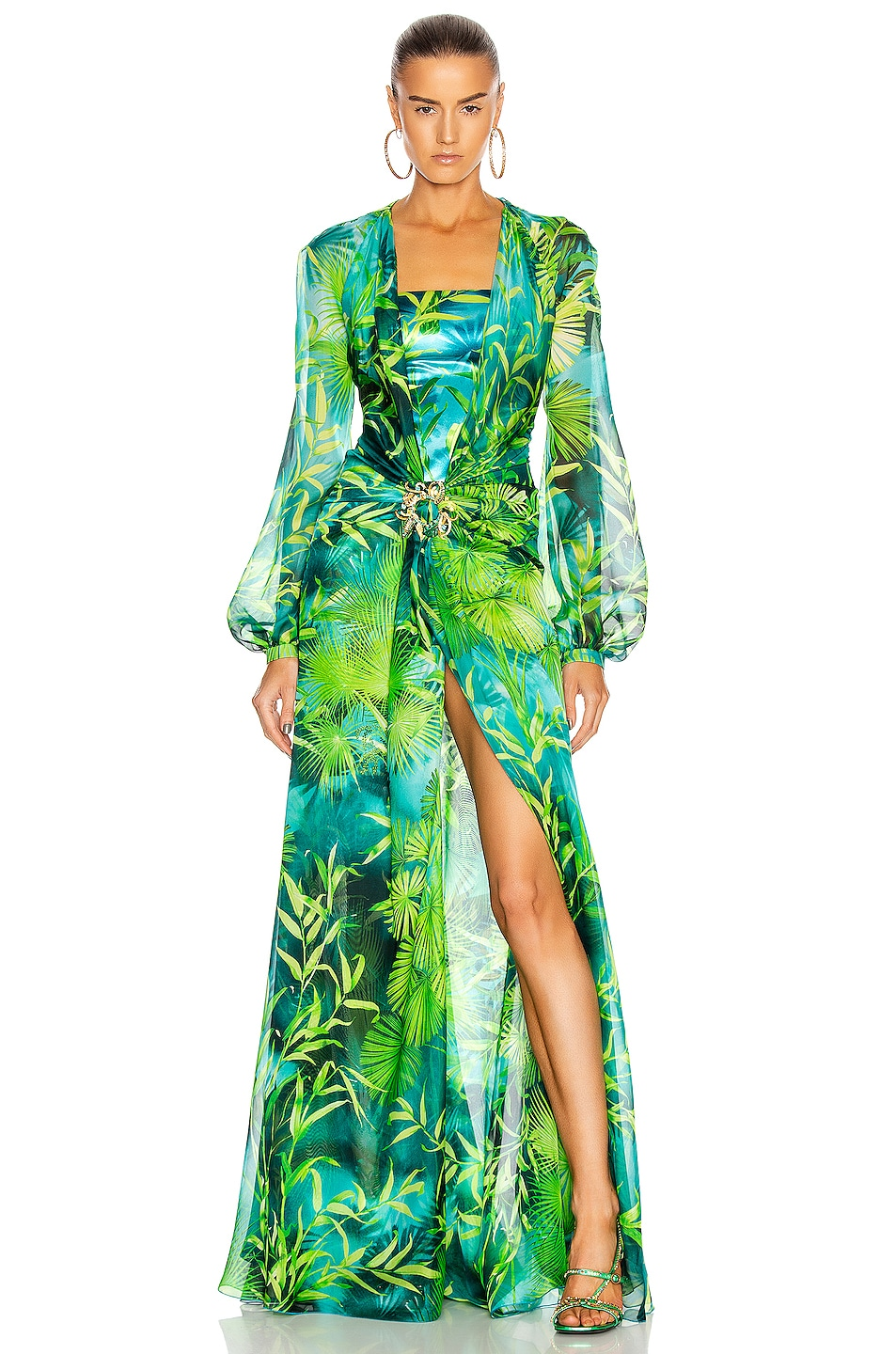 Image 1 of VERSACE Palm Long Sleeve Dress in Green