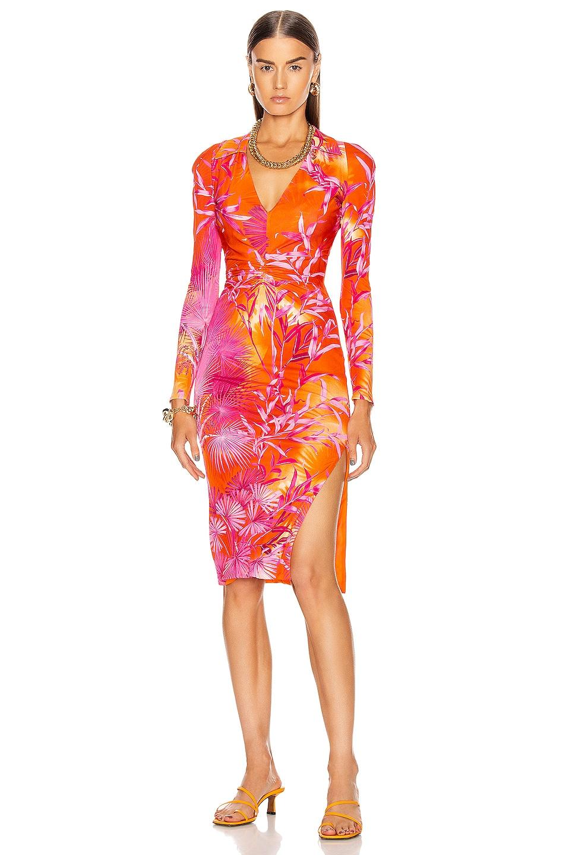 Image 1 of VERSACE Palms Long Sleeve Midi Dress in Fuchsia & Orange