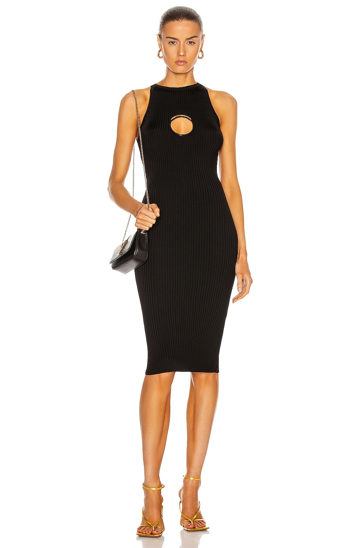 Image 1 of VERSACE O Ring Sleeveless Dress in Nero