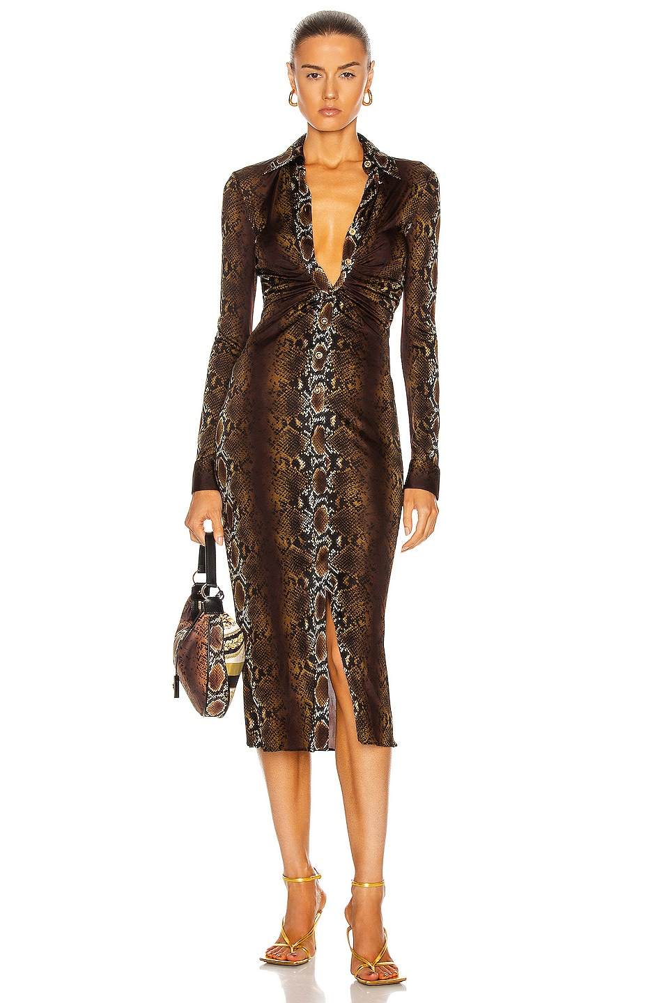 Image 1 of VERSACE Long Sleeve Midi Dress in Naturale & Stampa