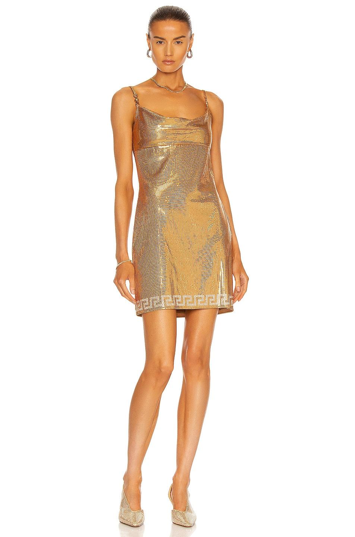 Image 1 of VERSACE Metal Mesh Mini Dress in Caramel