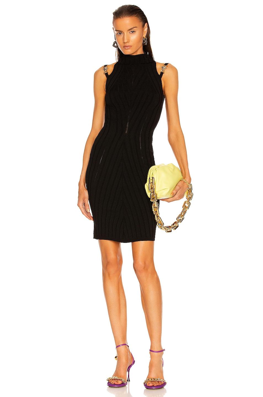 Image 1 of VERSACE Bodycon Seamless Rib Dress in Nero