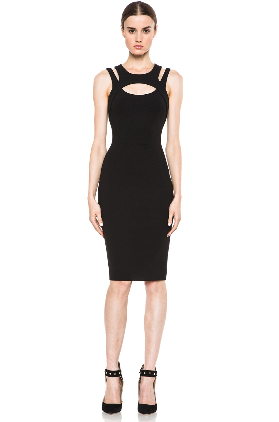 Image 1 of VERSACE Cut Out Dress in Black