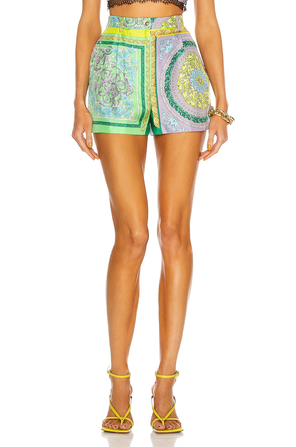 Image 1 of VERSACE Barocco Tailored Short in Lilac & Green Water