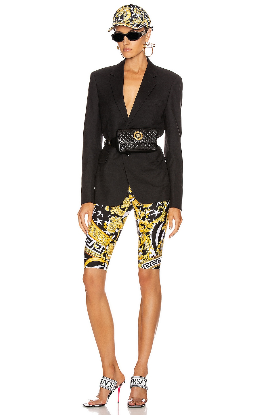 Image 4 of VERSACE Print Biker Short in Black & Yellow