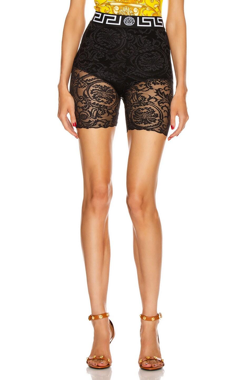 Image 1 of VERSACE Lace Biker Short in Black