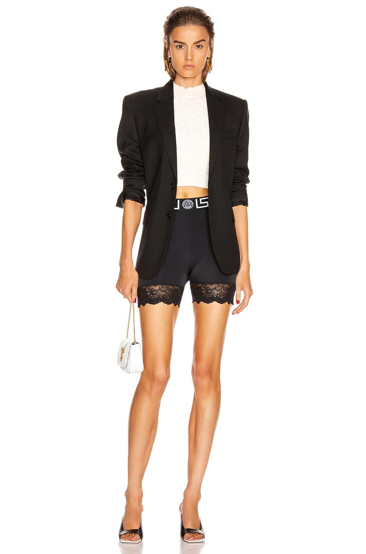 Image 4 of VERSACE Lace Trim Biker Short in Black