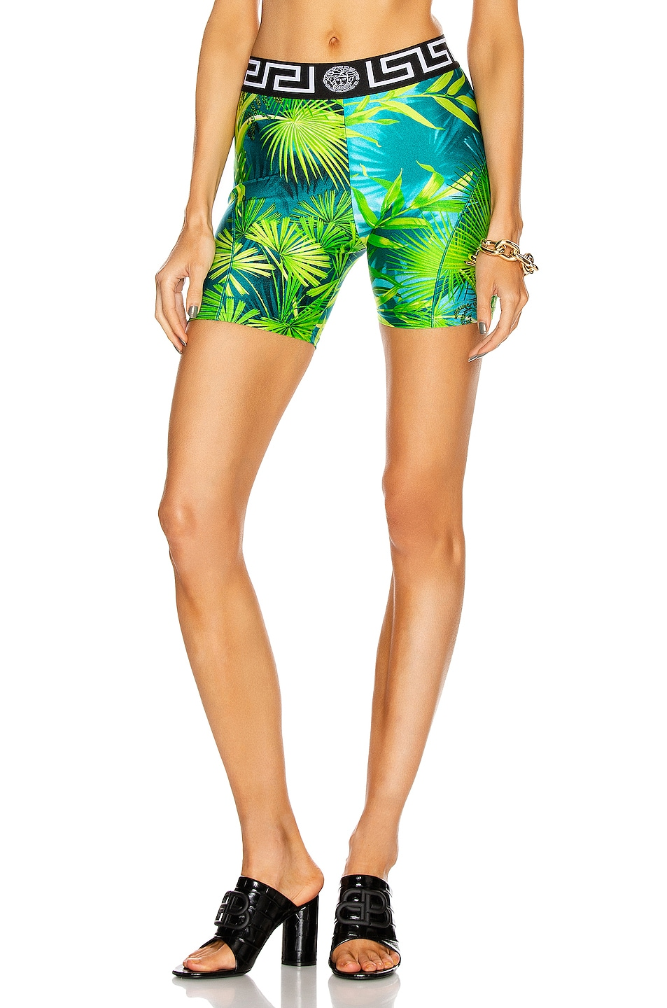 Image 1 of VERSACE Palm Cycling Short in Green