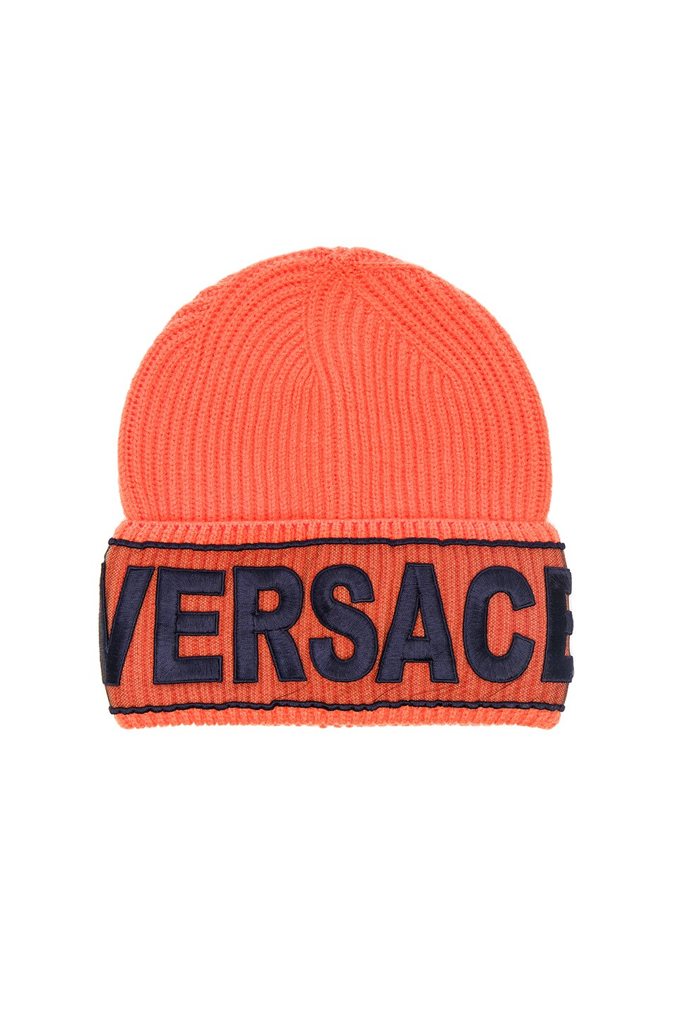 01ba017a5e597 ... spain image 1 of versace logo beanie in orange d4f41 4508d