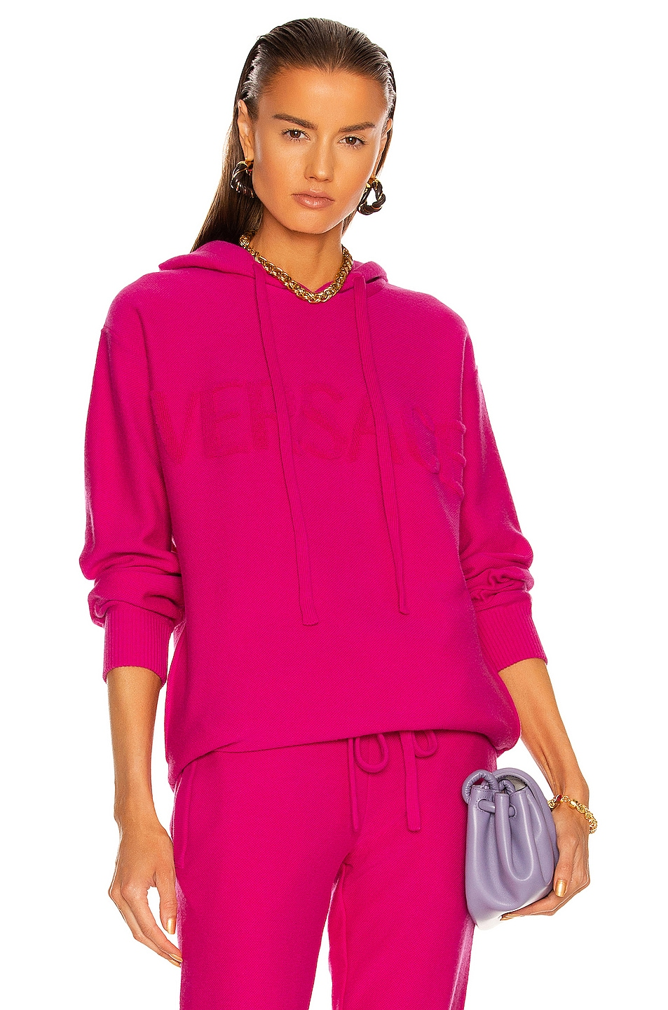 Image 1 of VERSACE Cashmere Hoodie in Fuchsia