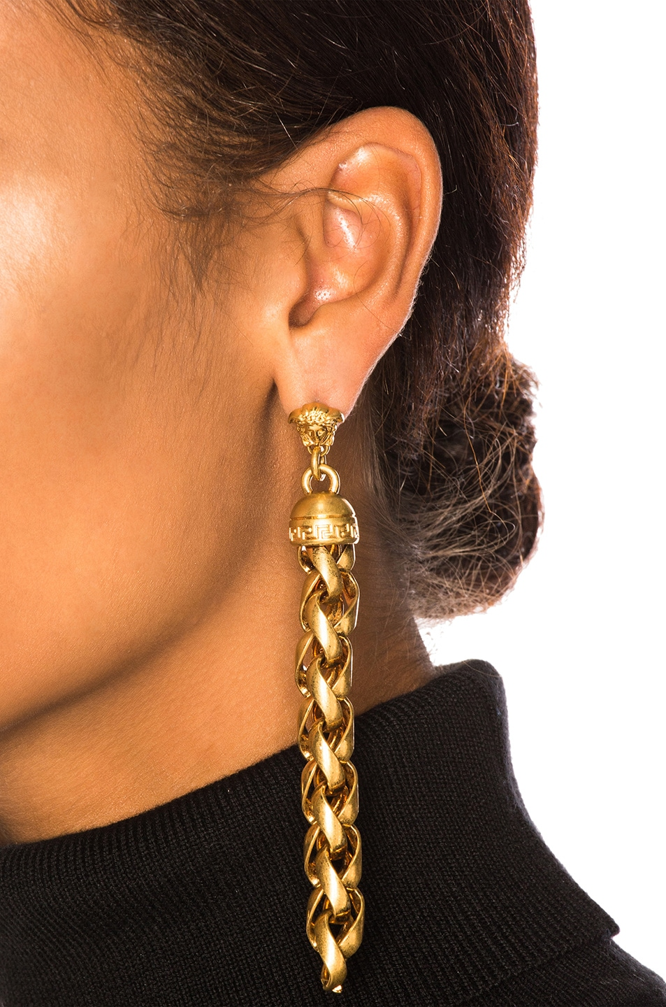Image 4 of VERSACE Chain Drop Earrings in Gold
