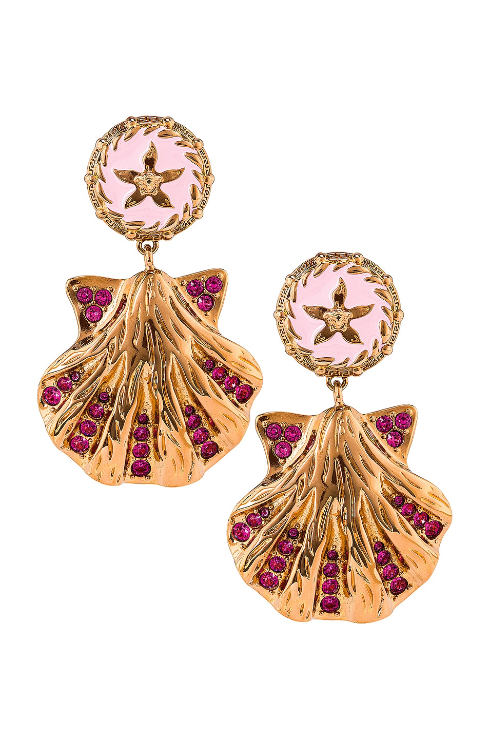 Image 1 of VERSACE Shell Earrings in Oro & Baby Pink